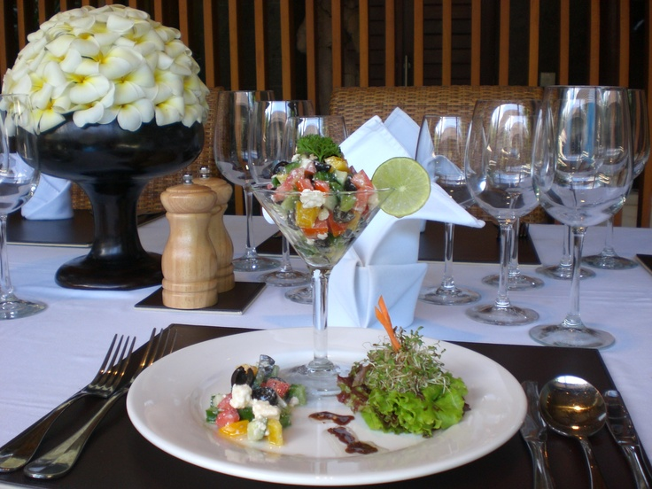 Chef catered meals from the professional central kitchen at Lakshmi Villas .