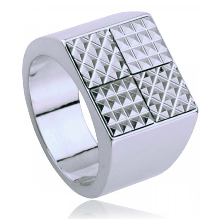 Men stainless steel Quatra signet rings - Kenzo