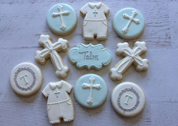 2 Dozen Baby Boy Baptism/Christening Cookies by NatSweetsCookies