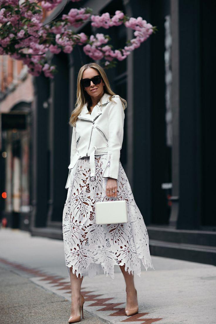 Helena Glazer of Brooklyn Blonde wearing Tracy Reese dress, Zara jacket, Louboutin heels, Mark Cross handbag