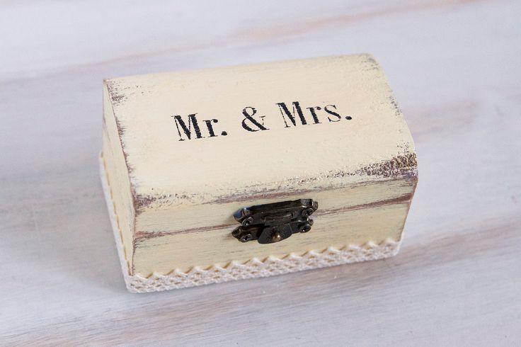 Mr & Mrs Wedding Box Ring Bearer Box Rustic Wedding Ring Box Beige Ring Holder Beige Ring Box Proposal Ring Box Engagement box Rustic Box