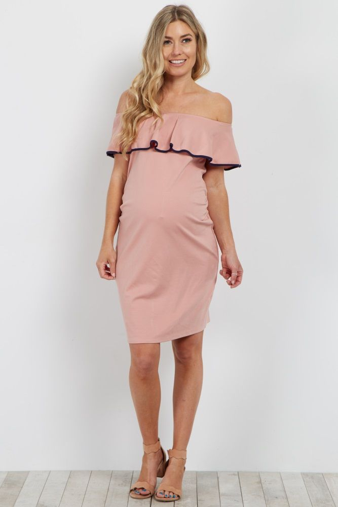 Pink Off Shoulder Fitted Maternity Dress