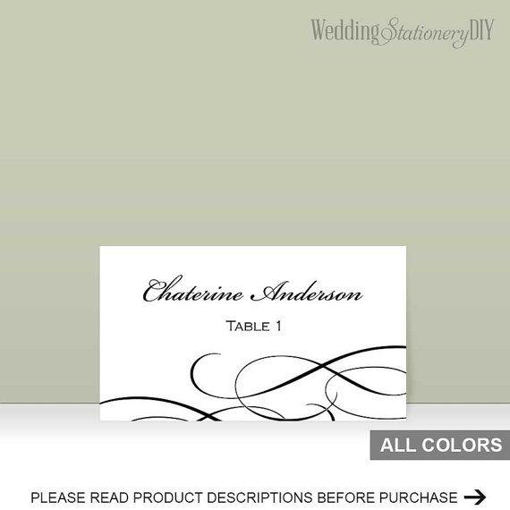Elegant black  Printable placecard by WeddingstationeryDIY on Etsy