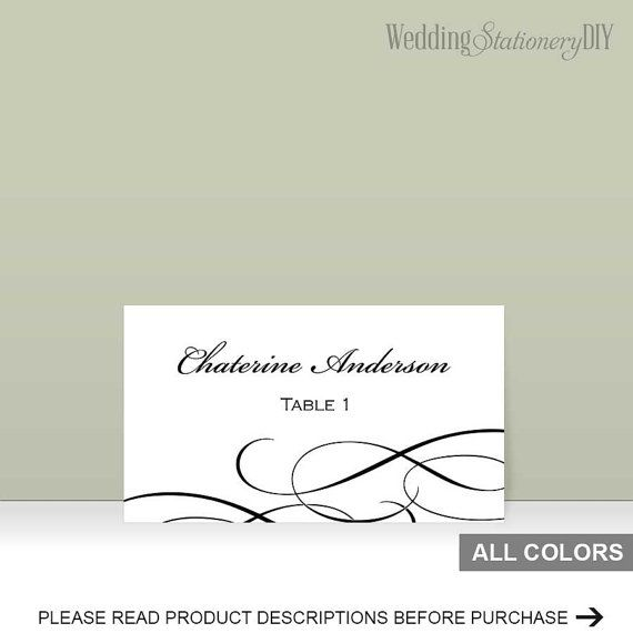 Elegant black  Printable placecard by WeddingstationeryDIY on Etsy