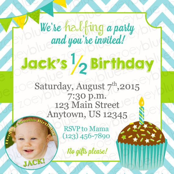 JUNE SALE Half Birthday Invitation Boy 6 Month