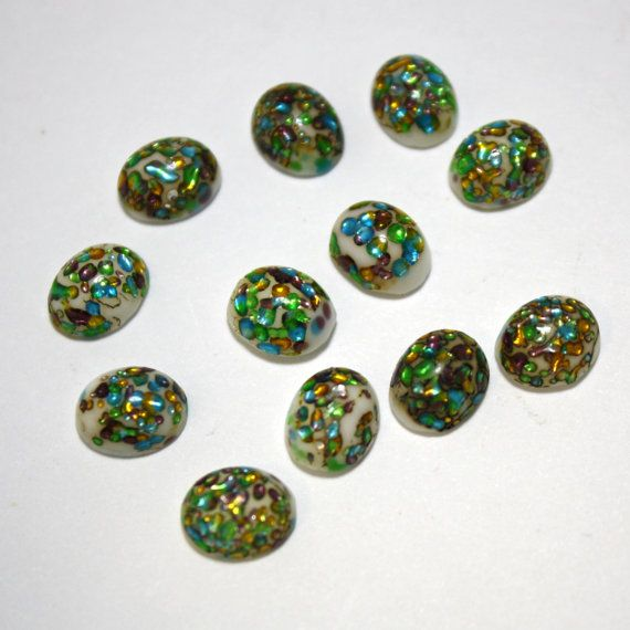 4 Vintage Cherry Brand Glass Opal Cabochons  by ThisPurplePoppy