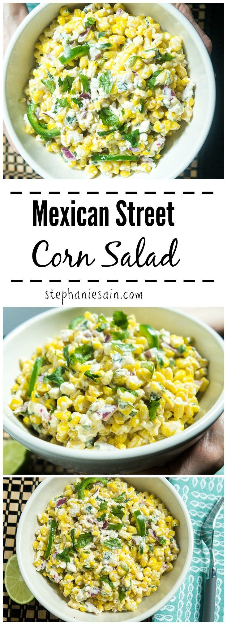 Mexican Street Corn Salad is a tasty, easy to prepare side. Could also work great as an appetizer with chips or cracker. Gluten Free & Vegetarian.