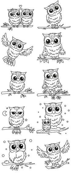 Owl Line Art by Stitching 4 Fun SFS-42 - $2.50 : Embroidery Passbook Mall, Instant download Embroidery Designs