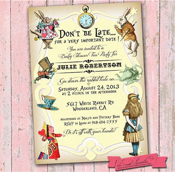 Alice in Wonderland Baby Shower Tea Party Invitation, DIY Printable, Pink, Blue, Yellow, 5x7 Vintage Invite by Event Printables