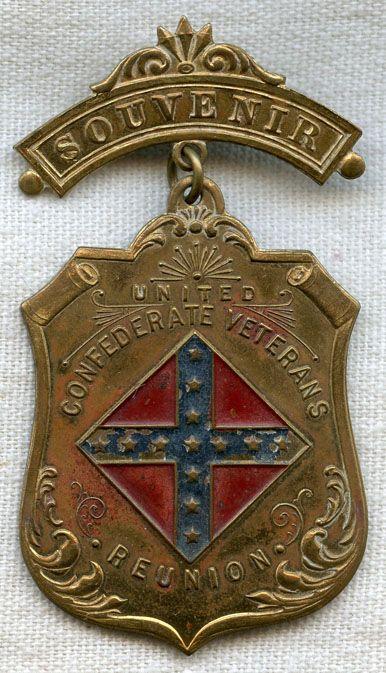1890s United Confederate Veterans (UCV) Reunion Badge ~ Flying Tiger Antiques