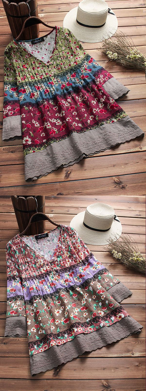 Vintage Floral Print Patchwork 3/4 Sleeve V-neck Blouses For Women. 3 colors opt…