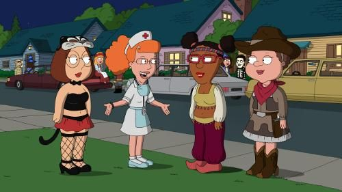 The DVD commentary points out that this episode was unusual for having three plot lines instead of the standard two, involving almost all of the major characters. A fourth plot line featuring Lois and Bonnie passing out candy was planned but didn't make it into the final episode. The DVD commentary also identifies the names of Meg's friends as Ruth, Esther and Patty. It also says that Family Guy Online used the aerial scenes to plot out the map of Quahog.