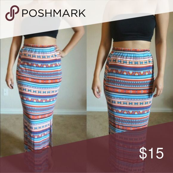 Tribal Aztec maxi skirt Bought in London in perfect condition! Skirts Maxi