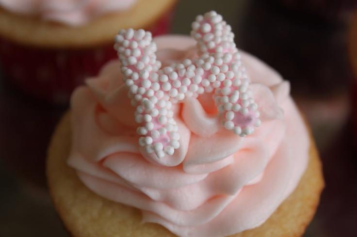 Nonpareil monogram cupcakes.