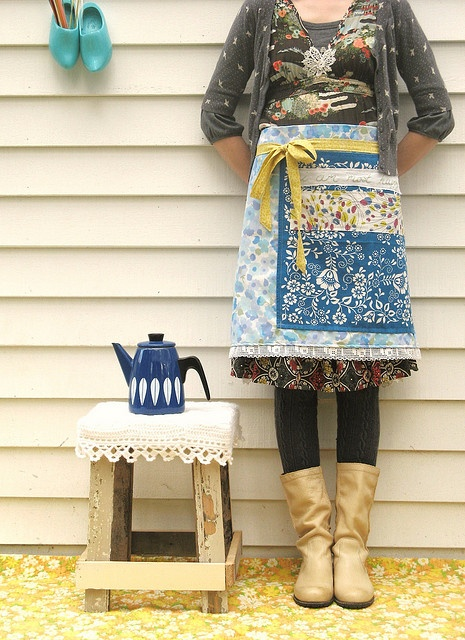 """dottie angel apron, """"i am most happy"""" made from vintage pillowcases, hankies, lace, doilies, etc."""