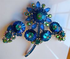 Stunning Vintage Juliana Rhinestone MARGARITA FLOWER Brooch Pin set earrings