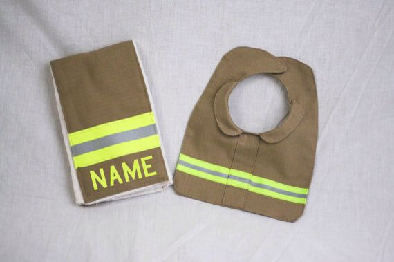 #DIY #Firefighter Idea: #Baby #BurpRag and Bib Made to Look Like Turnout Bunker Gear With Personalization of Your Choice great shower gift.