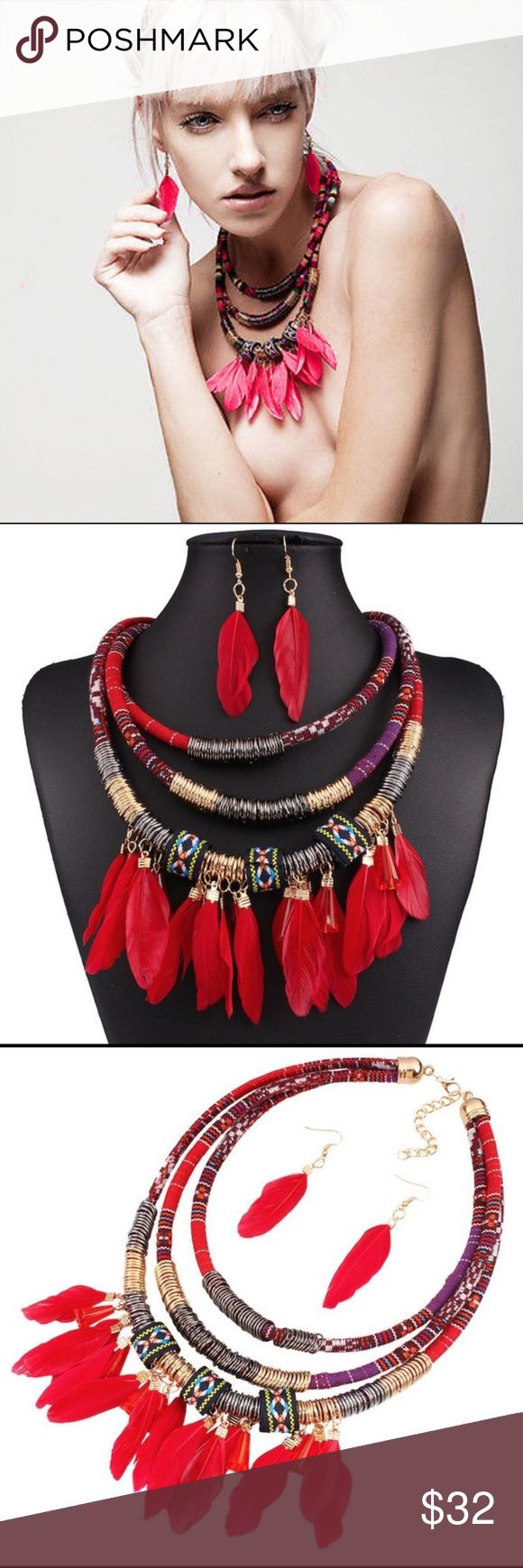 BOHO FEATHER Red Statement Necklace Set Brand New Red Boho Statement Necklace Earrings Set with feathers. Please see last photo for material and measurement. Jewelry Necklaces
