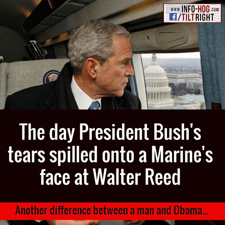 The day President Bush's tears spilled onto a Marine's face at Walter Reed. Another difference between a man and Obama...