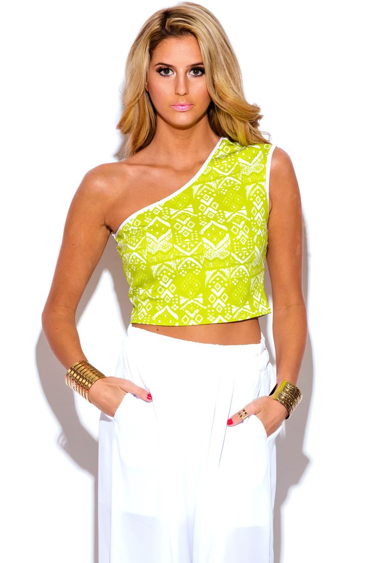 ONE WAY LOVE   lime green ethnic print one shoulder fitted party crop top - 1015store.com