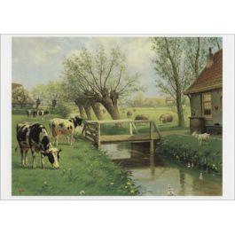 Ansichtkaart M.A. Koekkoek - Herkauwers (koeien) - schoolplaten   Muller wenskaarten