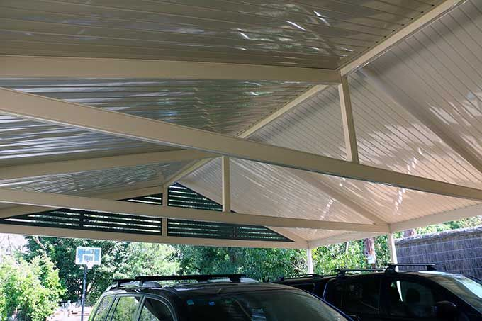 Internal view of double side colorbond roof