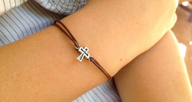 Cross Leather Bracelet - Unisex. Find it at www.giftedmemoriesjewellery.com.au