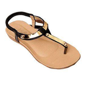OVERMAL Girl Women Bohême Paillettes clip Toe Chevrons Sandals Beach Chaussures plates