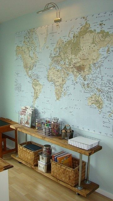 This is just the kind of map and wall color Ive been looking for to use in the homeschool room. homeschool-room-ideas