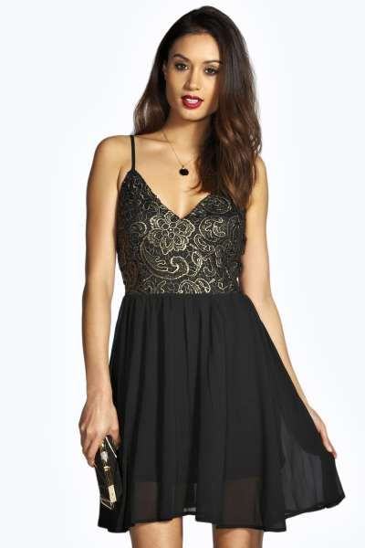 Boutique clair woven crochet lace skater dress for Boohoo dresses for weddings