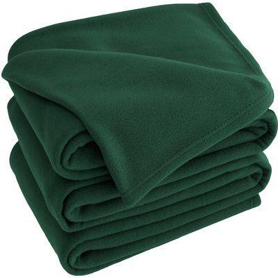 Bare Home Polar Fleece Blanket Color: Forest Green, Size: Queen