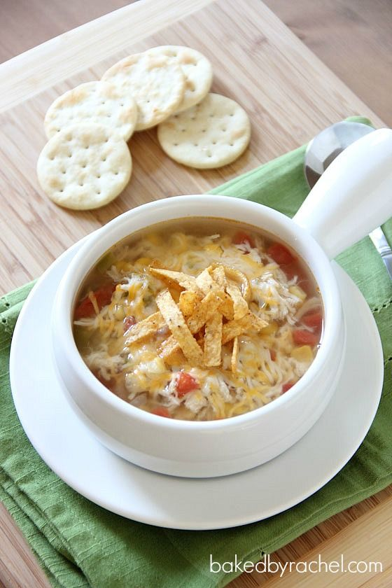 Slow Cooker Chicken Tortilla Soup Recipe - Add two packets of El Paso Cheesy Taco Seasoning & a can of black beans to make it perfect.