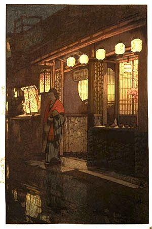 A Little Restaurant, by Hiroshi Yoshida, 1933.