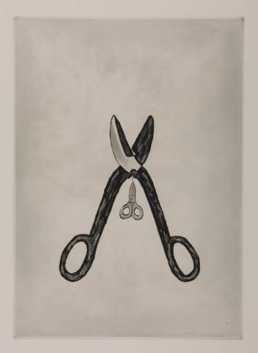Louise Bourgeois born 1911. Scissors.  1994. Drypoint and aquatint on paper.