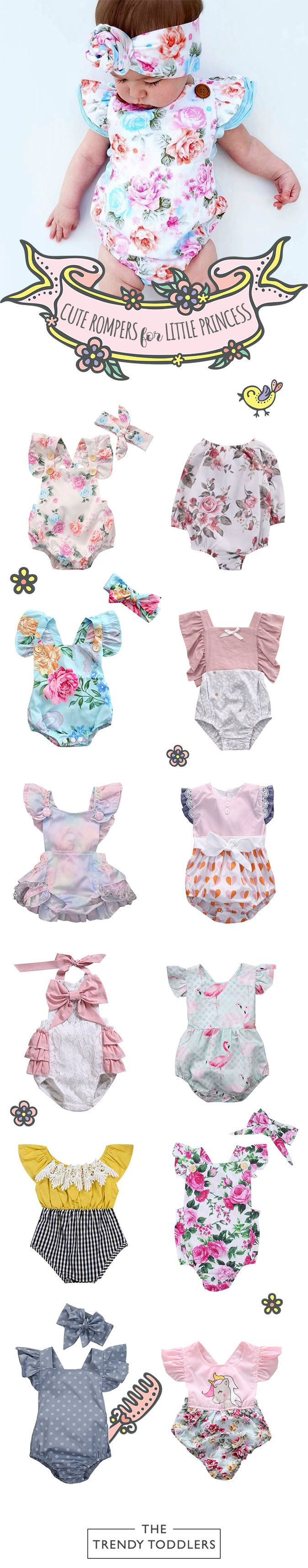 UP TO 70% OFF + FREE SHIPPING! Shop our entire collection of cute baby & toddler rompers at thetrendytoddlers.com. #toddlerRompers