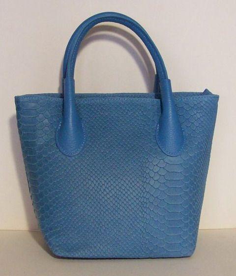 Schoudertas Blauw Leer : Lederen schoudertas blauw kleur met croco print tassen