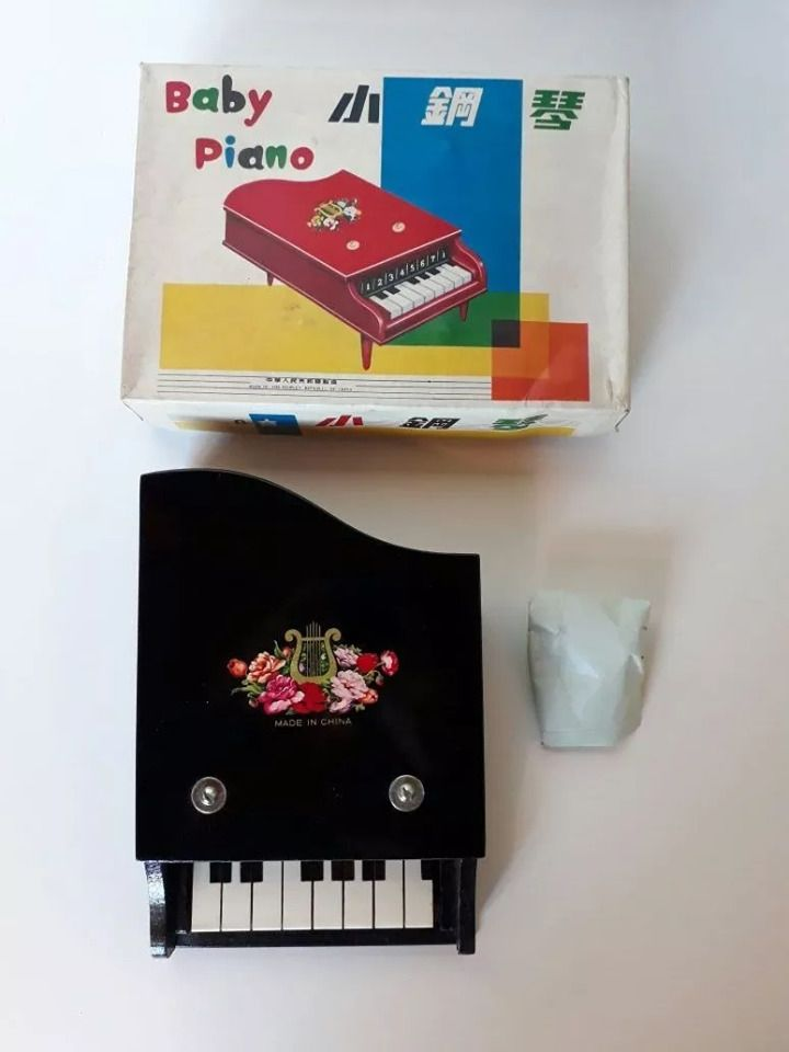 "BABY PIANO 8 KEYS ""1968"" MADE IN CHINA COMPLETE IN BOX (BRAND NEW) #thepeoples"