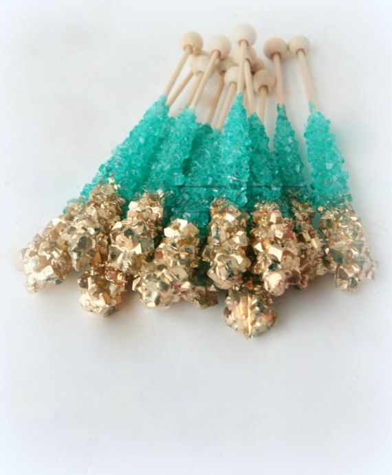 Buy Online! Teal and Gold themed Rock candy with pretty gold finish! Great for a teal and gold wedding, Mermaid Birthday Party, Under the Sea Baby Shower or birthday, Teal Gold bridal shower, baby shower, Beach wedding favors, dessert table treats, or for a beautiful Teal Blue & Gold Wedding dessert table!