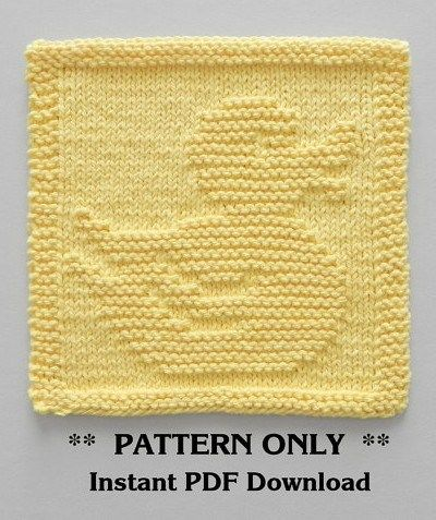 Knitting pattern for Rubber Ducky Wash Cloth or Afghan Block - Perfect for baby showers! Finished dimensions will be approx. 8″ x 8″ [20cm X 20cm]