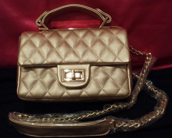 Susen Small Quilted Handbag with Gold Chain and Padded Shoulder Strap