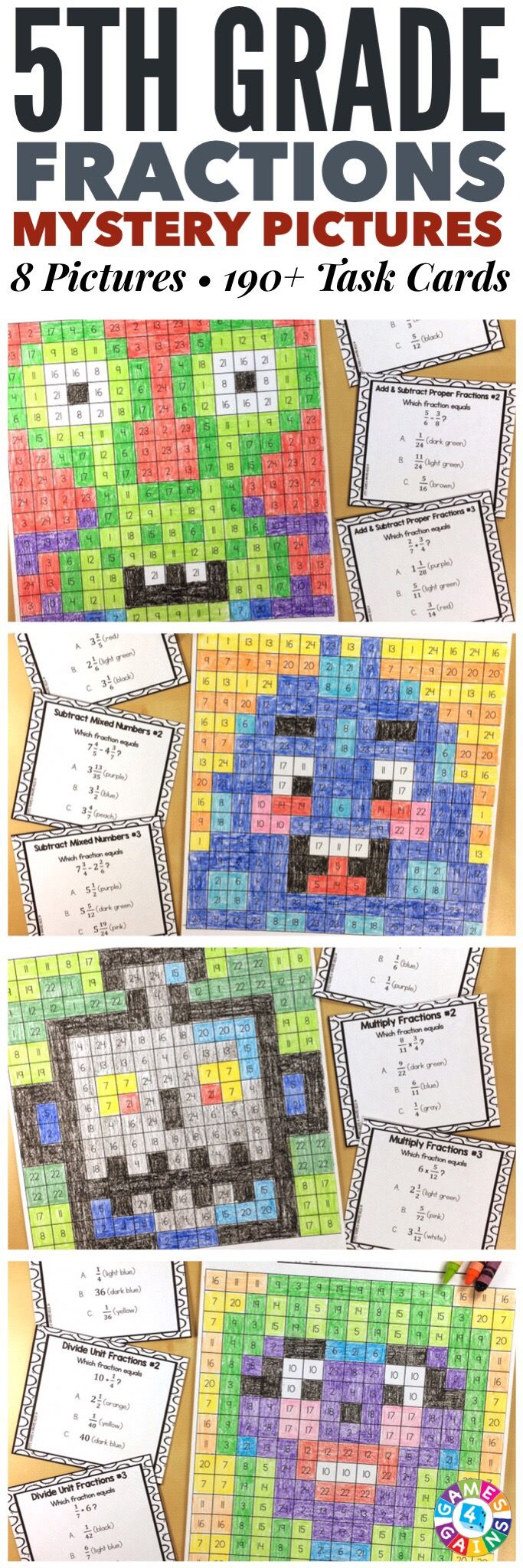 """""""I LOVE these mystery pictures for reinforcing concepts!"""" These 5th Grade Fractions Mystery Pictures are perfect for practicing key 5th grade Common Core fractions standards. This set includes 8 different pictures and over 190 task cards covering simplifying proper fractions and mixed numbers, adding and subtracting proper fractions with unlike denominators, adding mixed numbers, subtracting mixed numbers, multiplying fractions, and dividing fractions!"""