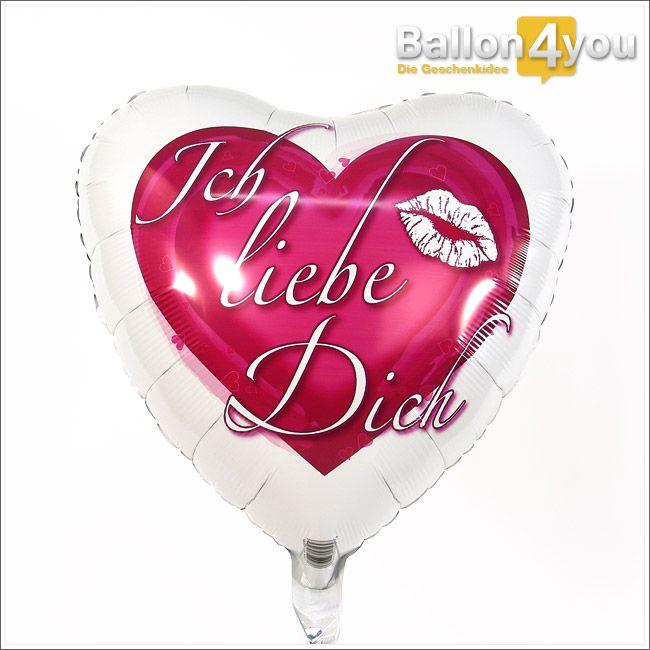 """Ich liebe Dich - Herzballon  Dieses Geschenk lässt verliebte Herzen höher schlagen. Verziert mit den schönsten Worten der Welt und einem verführerischen Kussmund, wickeln Sie damit Ihren Schatz um den kleinen Finger. Ob zum Valentinstag, Jahrestag oder als spontanes Liebesgeständnis - mit diesem Herz landen Sie einen echten """"Liebesvolltreffer""""!"""