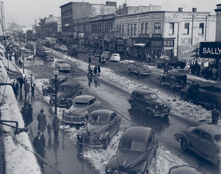 """Columbia Street in New Westminster was once known as the """"Golden Mile"""". (""""Wintertime Along the """"Golden Mile"""", 1948.)"""