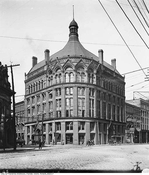 The Board of Trade Building was one of the first skyscrapers in Toronto, Canada. Completed in 1892 on the corner of Front Street East and Yonge Street, the seven storey tower was home to the Toronto Board of Trade and the Toronto Transit Commission. The building was designed by the American architectural firm of James & James of New York City, and closely resembled the appearance of the Board of Trade Building in Boston, Mass.