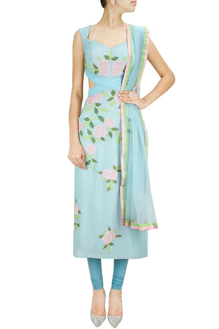 SHEHLA KHAN Powder blue floral patchwork cut out kurta set