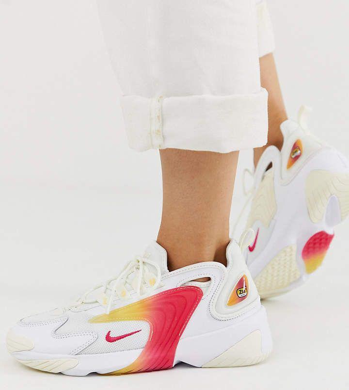 Nike white and orange zoom 2k sneakers