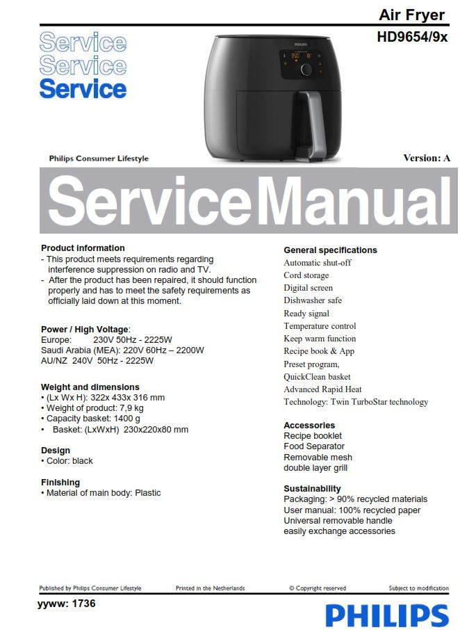 Philips Airfryer Hd9654 Service Manual Free Download Air Fryer Philips Manual