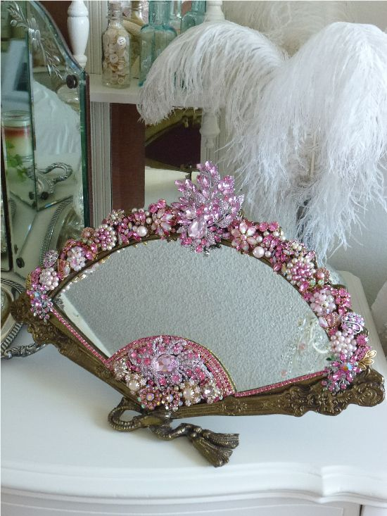 Pink Bejeweled Victorian Fan Mirror #shabbychic