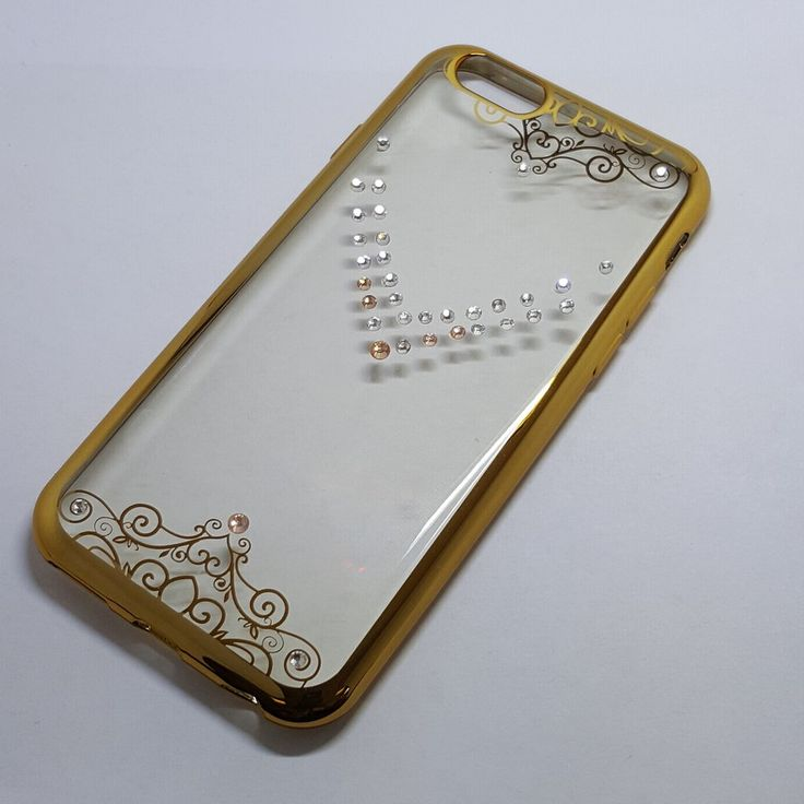 Apple iPhone 6G/6S - Chrome Edge with Rhinestone Silicone Case - 7.75$