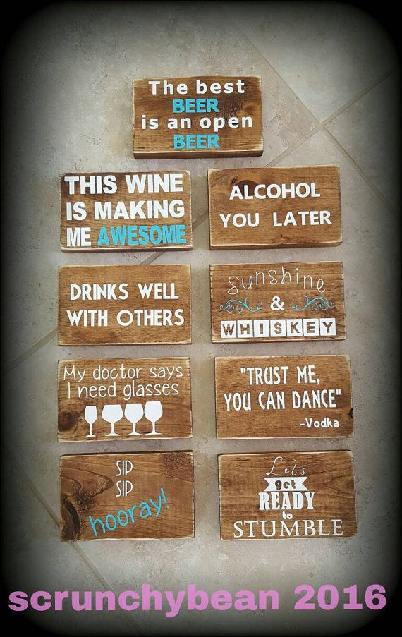 Mini Bar Signs. Funny alcohol signs. Wood wall by ScrunchyBean